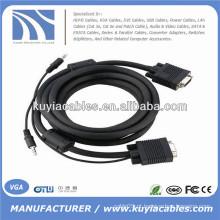 15PIN cabo VGA com áudio de 3,5 mm para PC TV