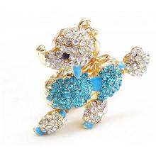 Самая последняя конструкция подарка конструкции подарка 2015 кристаллическая keychain собаки rhinestone металла оптовая keyring