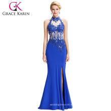 Grace Karin 2016 más nuevo Backless Halter alta Split largo azul vestidos de noche libre vestido de baile de fin de curso GK000050-1