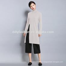 Nueva moda cuello alto delgado suéter largo para mujer de alta hendidura knt suéter