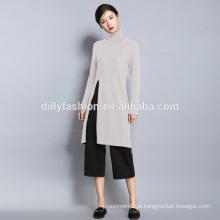 Camisola de noiva com fenda alta de moda nova e longa