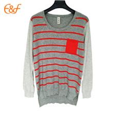Suéteres de primavera para damas suéter de rayas gris para mujer