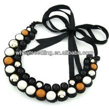 Collier en coton à perles à la perruque à la mode avec fermeture à ruban 08100836