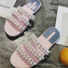 New Arrivals Black Woman Flat Sandals Durable Fancy Pearl Ladies Sandals Shoes