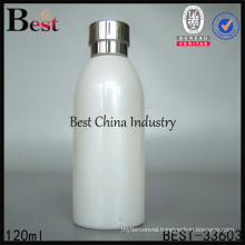 120ml white cosmetic glass lotion bottle with cap , gold supplier from China