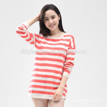 novo design feminino cor listras horizontais suéter de caxemira