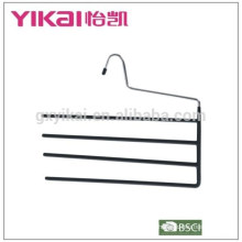 2015mutifunctional and space saving trousers hanger in black PVC coated