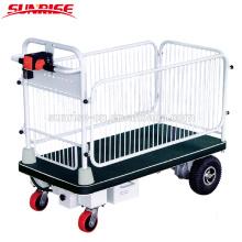 Durable usando el equipo de almacén plataforma de carro eléctrico con valla