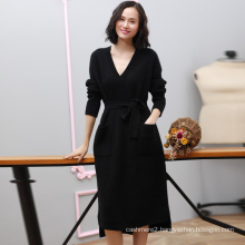 Women winter cashmere dress deep V neck fashion dress with waist belt long sleeves knee length black dress