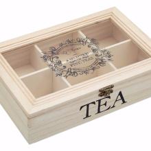 Cofre de té de madera con 6 compartimentos Cofre de té de madera (caja con 6 compartimentos), 26 x 17 x 6 cm