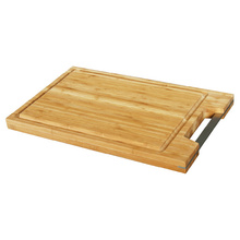Bamboo cutting board with metal handle and groove