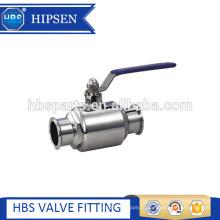 braçadeira de aço inoxidável sanitária do produto comestível diretamente válvula de esfera em dois sentidos