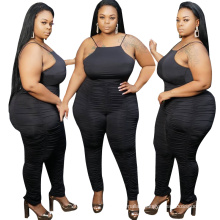 2020 Hot Sale New strappy wrinkle tight plus size women jumpsuits and rompers