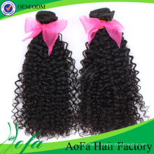 Extension de cheveux humains vierges naturels brésiliens crépus bouclés remy 2016