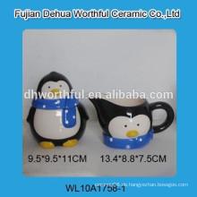 Hochwertiger Keramik-Pinguin-Zucker-Topf und Milchglas-Set