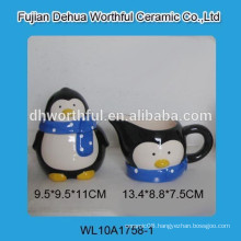 High quality ceramic penguine sugar pot and milk jar set