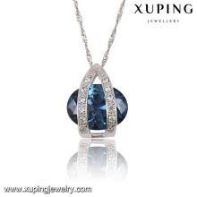 32586 moda elegante rodio ovalada CZ diamante imitación mujeres joyería colgante de cadena