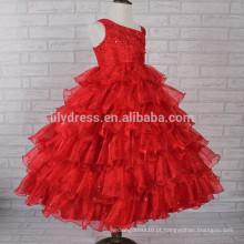 Red Ruffles Skirt Sequins Bling Bling Ball Gown Custom Flower Girl Dress FGZ06 Os vestidos mais bonitos das meninas nunca!