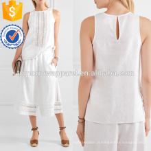 Linho branco e Crochet Algodão Top Fabricação Atacado Moda Feminina Vestuário (TA4143B)