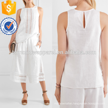 White Linen and Crochet Cotton Top Manufacture Wholesale Fashion Women Apparel (TA4143B)