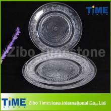 Klare runde Glas-Ladegerät Platte für Pizza Dessert