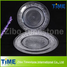 Ясно круглые стекло зарядное устройство тарелки для пиццы десерт