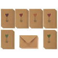 Colorful Heart Air Balloon Designs Love Brown Kraft Valentine Paper Greeting Cards
