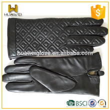 Women black sheepskin quilting seam custom leather gloves