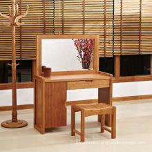 Modern Bamboo Dressing Table with Mirrors and Stool