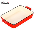 Enameled coating red Cooking cookware Cast Iron dish Pan roasting tray