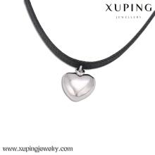 43811-top qualité bijoux de mode argent couleur coeur pendentif collier