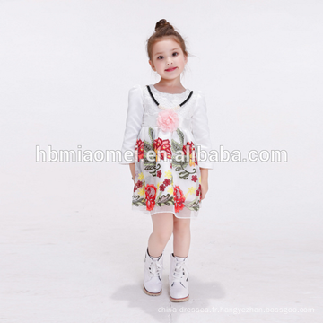 robe de bébé conçoit la fleur blanche des enfants en bas âge habillent des petites filles portent la robe de fille de fleur avec la longue douille
