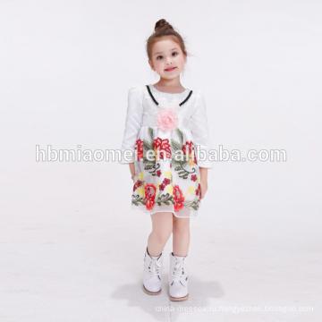 детские фрок дизайн белый цветок дети платье младенческой маленькие девочки партия носить платье девушки цветка с длинным рукавом