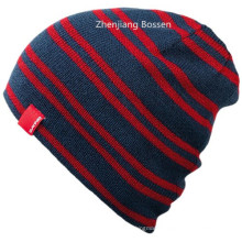 OEM Produce Cheap Acrylic Sports Whinter Customized Striped Slouch Beanie