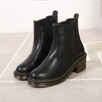 Classical Round Toe Mid Heel Boots