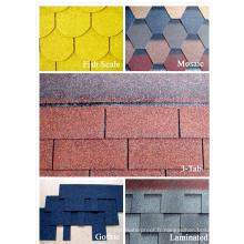 Fibre de verre avec matériau de sable coloré et tuiles de toit ordinaire Type Bardeau d'asphalte à faible coût en fibre de verre