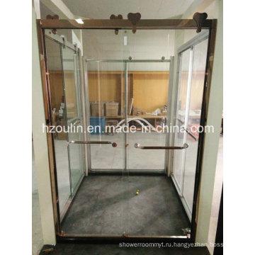 Душевые стеклянные двери с большим роликом из нержавеющей стали (СУ-502)