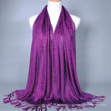 Allgleiches erstaunlicher einfarbiger langer Chiffon- Damen-Seidengefühl-Quasten-indischer Schal