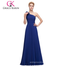 Grace Karin largo gasa un hombro azul real barato vestido de fiesta CL3467-1
