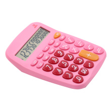 Pink color 12 digits dual power office calculator