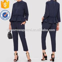 Pinstripe Ruffle Hem Top et pantalons de fabrication en gros de mode femmes vêtements (TA4018SS)