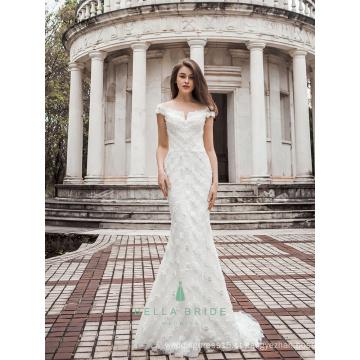 Padrão de renda com listras de forma de bainha decorado com lantejoulas vestido de casamento longo