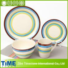 Fresco de color despojado de gres cerámica Dinner Set (TM0510)