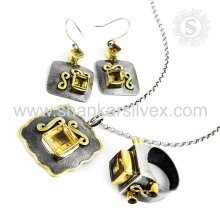 Scrumptious Citrine Jewelry Set Indian Silver Jewelry Wholesale 925 Sterling Silver Exportador