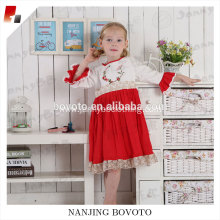 Mandarin half-sleeve embroidery one-piece dress red&white