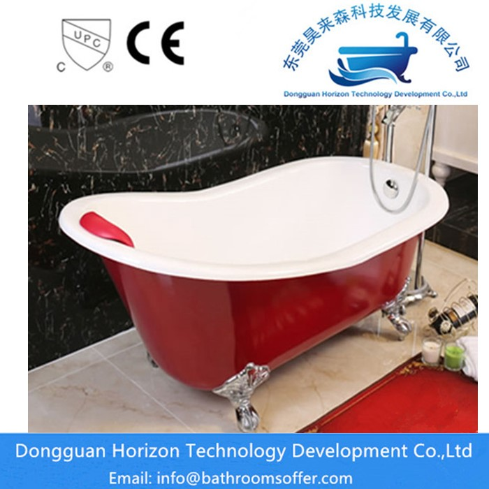 Red Cast Iron Bathtub