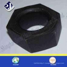 Écrou hexagonal noir en acier au carbone