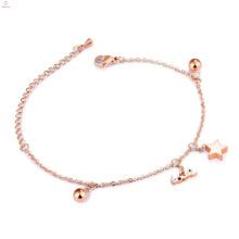Alabama Wholesale New Design Women's Charm Bracelet, Girl Chunky Fancy Jewelry Rose Gold Lucky Charm Bracelet