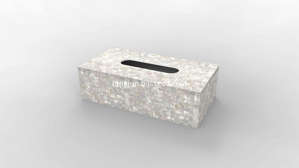 white mother of pearl tissue box