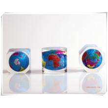 Globo / resina embeded acrílico do cubo Presentes-claro relativo à promoção / resina Embeded Globe-DC16001
